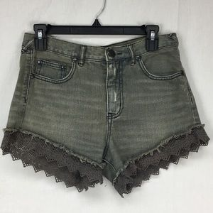Free People Gray Lace Trim Jean Shorts